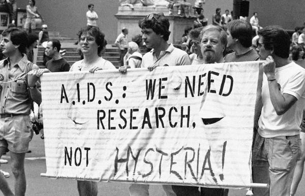 Men protesting in support of more money for AIDS research marched down Fifth Avenue during the 14th annual Lesbian and Gay Pride parade in New York in 1983.