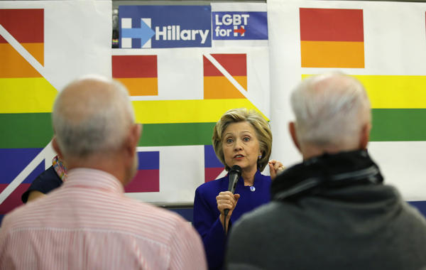 Hillary Clinton speaks to volunteers at a campaign call center during a stop at an LGBT community center April 18 in New York City.