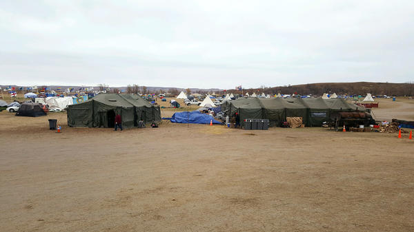Tents at the Oceti Sakowin Camp. Yazzie estimates he saw about 1,500 people at the camp last weekend.