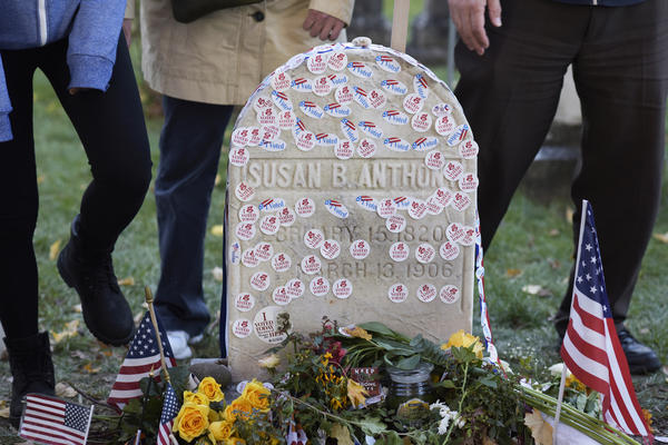 "The Mount Hope Cemetery in Rochester, N.Y., extended visiting hours on Election Day to accommodate those leaving ""I Voted"" stickers and other mementos at the grave of Susan B. Anthony."