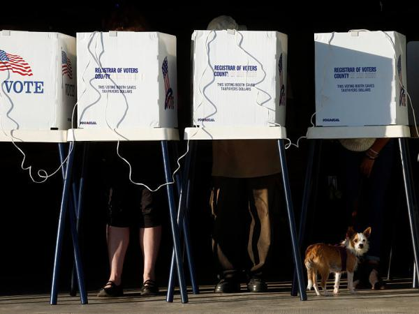 Residents cast their votes at the Los Angeles County Fire Department Lifeguard Operations in Venice on Friday.