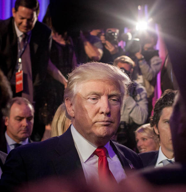 President-elect Donald Trump meets supporters after his acceptance speech at the New York Hilton Midtown.