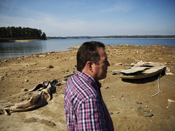 U.S. Army Corps of Engineers Natural Resources Manager Nick Baggett surveys Lake Lanier in October.