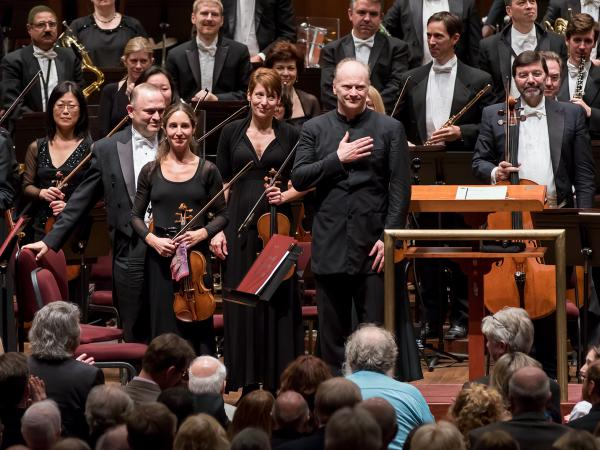 Gianandrea Noseda, music director designate of the National Symphony Orchestra, receives applause at the Kennedy Center after his string of concerts in November 2016.