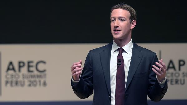 Facebook CEO Mark Zuckerberg says his company is responding to sharp criticisms over fake stories appearing in its news feeds. He's seen here speaking Saturday at the APEC CEO Summit, part of the broader Asia-Pacific Economic Cooperation (APEC) Summit in Lima.