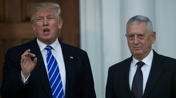President-elect Donald Trump speaks alongside retired Marine Corps Gen. James Mattis after the two met in Bedminster Township, N.J., in late November.