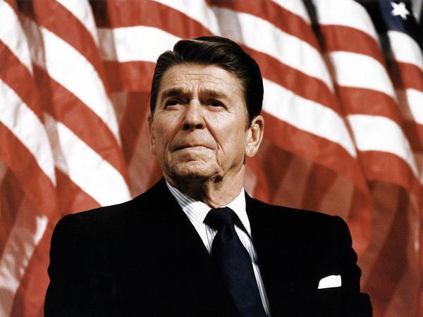 President Ronald Reagan at a political rally.