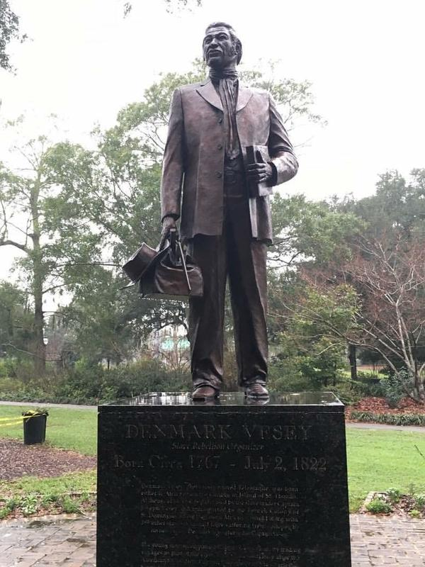 A statue of preacher Denmark Vesey, hanged for planning a slave rebellion, stands in Charleston's Hampton Park, named for an avowed white supremacist.