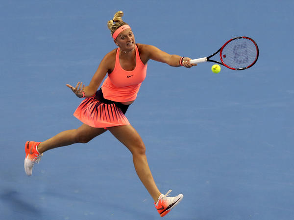 Petra Kvitova of the Czech Republic hits a return shot against Madison Keys of the United States during the women's singles quarterfinals of the China Open tennis tournament in Beijing on Oct. 7.