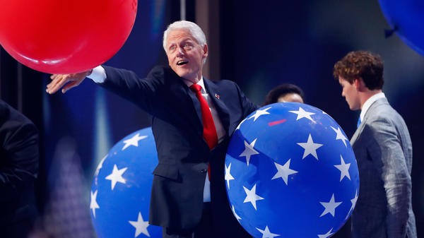 Former President Bill Clinton plays with balloons onstage at the end of the fourth day of the Democratic National Convention at the Wells Fargo Center in Philadelphia in July.