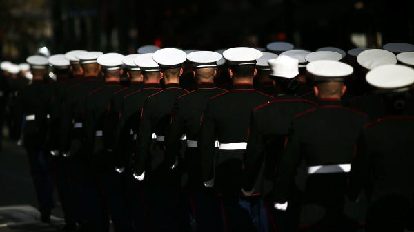 U.S. Marines march in the annual Veterans Day Parade along Fifth Avenue in 2014 in New York City.