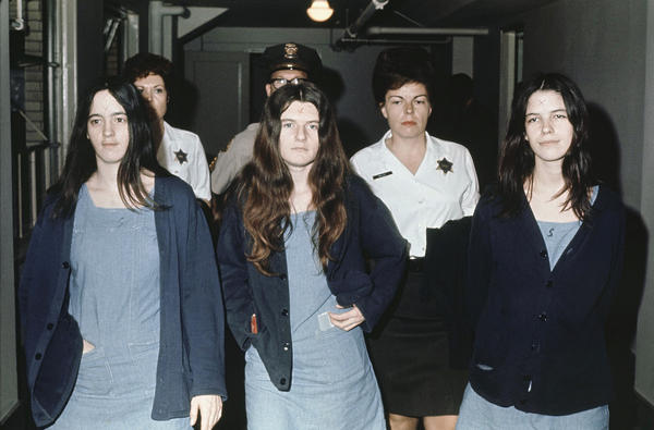 Susan Atkins (left), Patricia Krenwinkel and Leslie Van Houten, in 1971 as they return to court to hear the penalty ending a nine-month trial in the Tate-LaBianca murders. All three, plus Charles Manson, were sentenced to death — though those sentences were later commuted to life in prison.