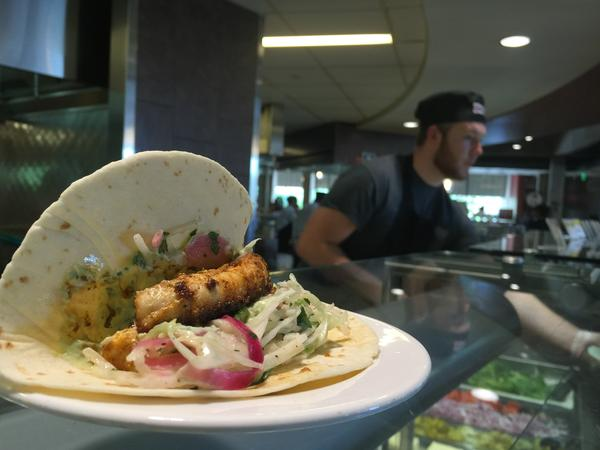 No, really, dogfish makes tasty tacos: These were on the menu at University of Massachusetts, Amherst, this fall.