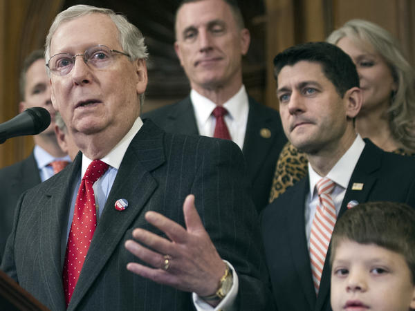 Senate Majority Leader Mitch McConnell speaks on Capitol Hill in December alongside House Speaker Paul Ryan.