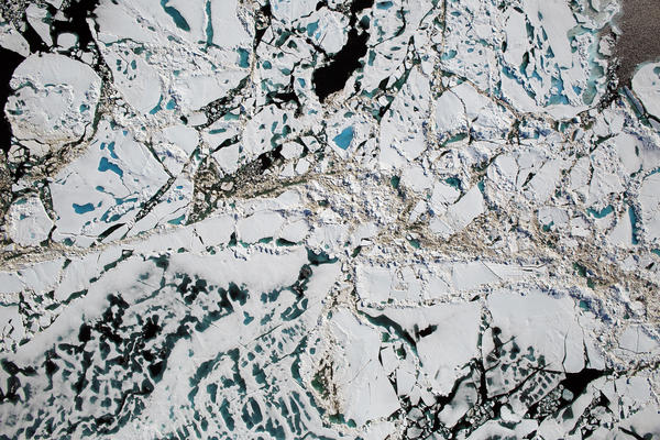 Chunks of Arctic sea ice, melt ponds and open water are all seen in this image captured by NASA's Digital Mapping System instrument during an Operation IceBridge flight over the Chukchi Sea in July 2016. Last year was particularly bad for Arctic sea ice.