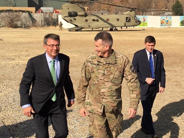 Defense Secretary Ash Carter (left) arrives in Kabul in December with Gen. John Nicholson (center), the top U.S. commander in Afghanistan.