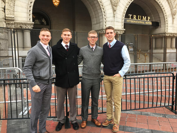 Students from Liberty University make the trip from Lynchburg, Va., to Washington, D.C., to attend Donald Trump's inauguration.