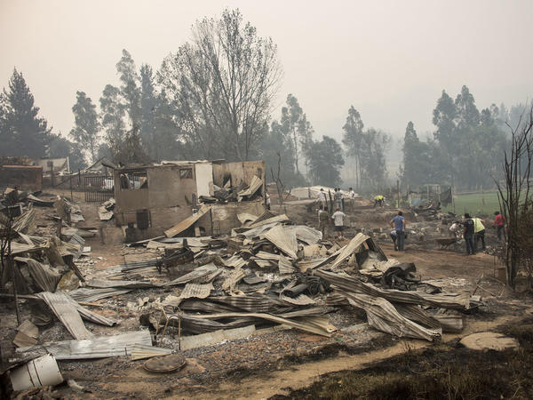 Part of the town of Santa Olga, which was destroyed by a forest fire on Thursday.