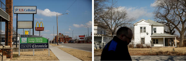 (Left) The storefront office of the weekly <em>Montgomery County Chronicle</em> on West Main Street.   (Right) Editor Andy Taylor walks on West Myrtle Street.
