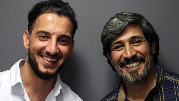 Philip, 43, (right) and his nephew Andy, 28, at StoryCorps in Minneapolis in December. Philip got his nickname from the American soldiers he was assigned to in Iraq because he loved Philip Morris cigarettes. Andy is also a nickname.
