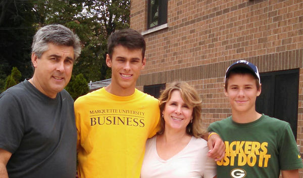 The Schwister family — (from left) Tim, Jacob, Kay and Joseph — in 2015, before Kay developed symptoms of Creutzfeldt-Jakob disease.
