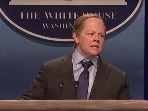 Melissa McCarthy portrays Press Secretary Sean Spicer in a sketch on this week's episode of <em>Saturday Night Live</em>.