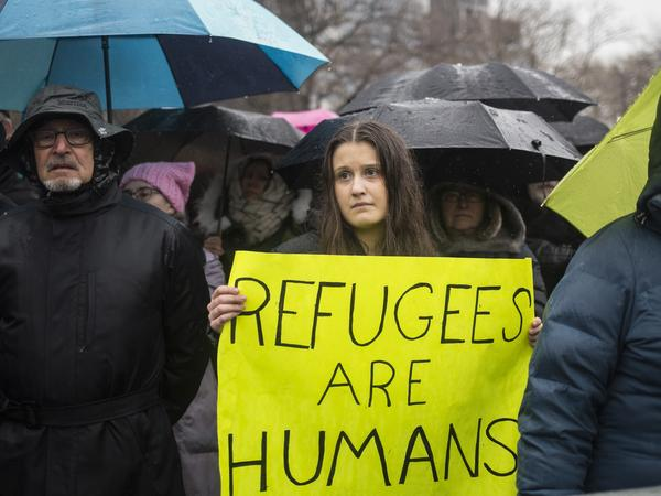 HIAS, a Jewish group that supports refugee resettlement, held a rally against President Trump's immigration ban on Feb. 12 in New York City. The group worries that giving governors the power to veto arrivals — something President Trump wants to do that last week's court ruling did not address — could unravel the resettlement program.