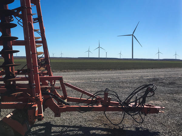 Wind turbines and farm equipment now dot Horace Pritchard's land, where he raises corn, soybeans, and other crops. He also receives payments for hosting nine of the more than 100 wind turbines now operating near Elizabeth City, N.C.