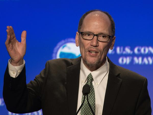 Former Labor Secretary Tom Perez speaks at the 84th annual Winter Meeting of The United States Conference of Mayors in Washington, D.C., on Jan. 21.