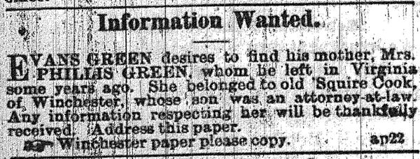Evans Green searches for his mother, Phillis, through an ad placed in <em>The Black Republican</em> of New Orleans in 1865.