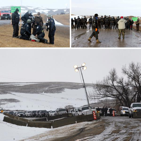 Police make arrests (top, left) as they move south on highway 1806 (top, right), just outside the entrance to the Oceti Sakowin camp on Wednesday. (Bottom) Police vehicles line up at a roadblock ahead of Wednesday's evacuation deadline.