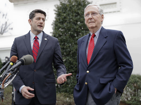 House Speaker Paul Ryan and Senate Majority Leader Mitch McConnell talk with reporters outside the White House on Monday, Feb. 27, 2017.