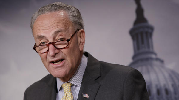 Senate Minority Leader Chuck Schumer, D-N.Y., speaks to reporters Thursday about news reports of Attorney General Jeff Sessions' contact with Russia's ambassador to the U.S. during the presidential campaign.