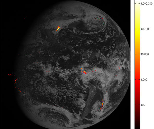 An image of Western Hemisphere lightning storms, captured Feb. 14 over the course of one hour. Brighter colors indicate more lightning energy was recorded (the key is in kilowatt-hours of total optical emissions from lightning.) The most powerful storm system is located over the Gulf Coast of Texas.