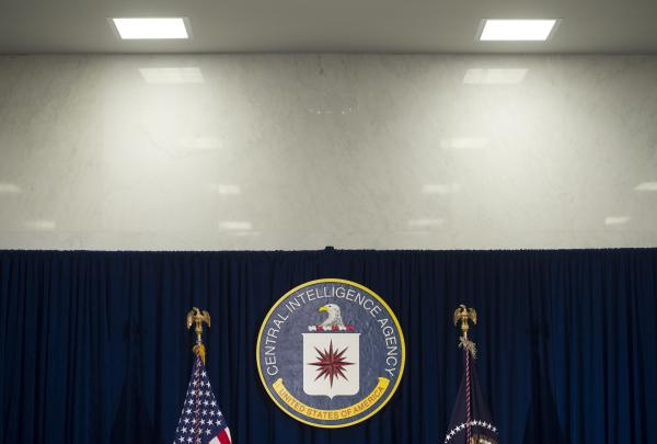 "The Central Intelligence Agency logo is seen at CIA Headquarters in Langley, Va., in 2016. In a statement accompanying the document release, WikiLeaks alleges that the CIA has recently ""lost control of the majority of its hacking arsenal."""