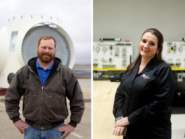 (Left) Heath Ince is an instructor of wind energy and applied engineering technology at Texas State Technical College in Sweetwater. (Right) Lolly Bradbury is one of the few women to work in the wind energy industry in West Texas.