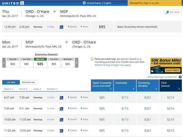"""The United Airlines website displays the new """"basic economy"""" fares for flights from Chicago to Minneapolis-St. Paul."""