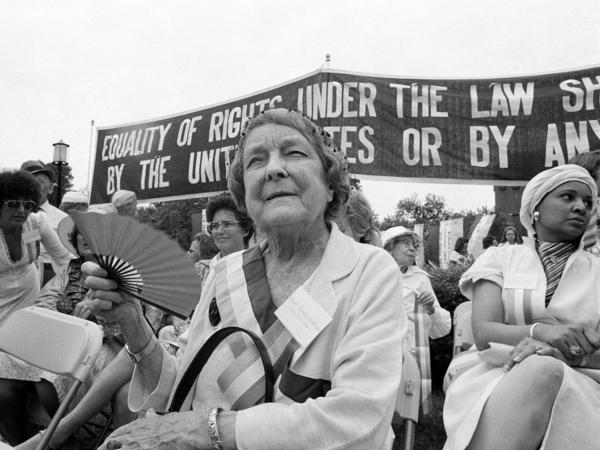 Hazel Hunkins Hallinan, who fought for women's suffrage, rests after marching with supporters of the Equal Rights Amendment in Washington, D.C., in 1977. The last state to ratify the ERA, Indiana, did so that same year.