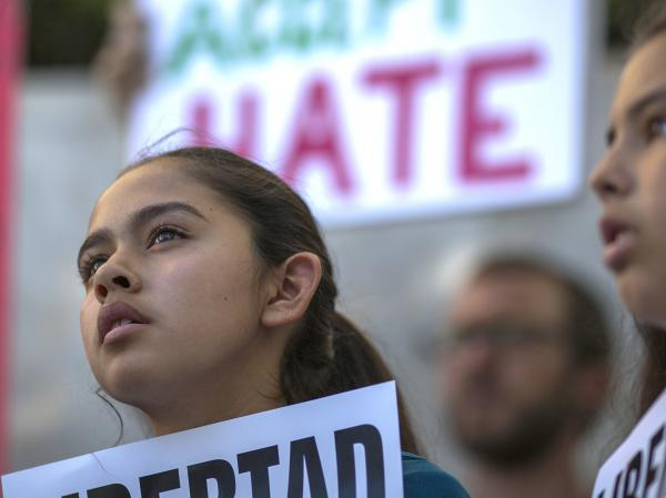 Fatima Avelica, 13, daughter of of Romulo Avelica-Gonzalez, attends a rally with loved ones and supporters for his release outside U.S. Immigration and Customs Enforcement (ICE) offices on March 13, 2017 in Los Angeles, California.