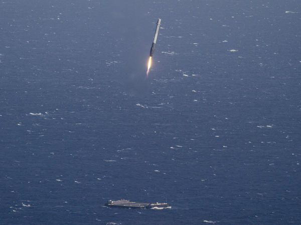 The first stage from last year's launch landed vertically on a barge at sea.