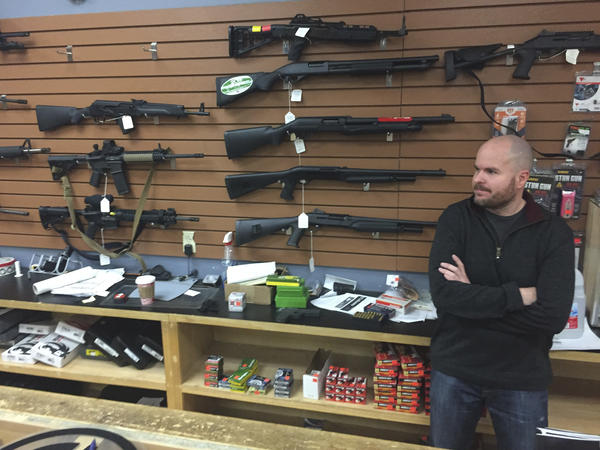 Firearms salesman Nathan Williams at the Outdoorsman gun shop in Santa Fe, N.M., on Jan. 5. Since Donald Trump's election, background checks have fallen three straight months from year-ago levels.