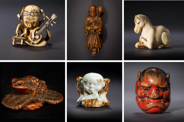 Netsuke can be made from materials such as ivory, wood and ceramics, and subjects, ranging from the humorous to mythical. (Top, L to R): The World's First One-man Band with Eight Arms; Zato (The Blind Musician); Horse. (Bottom, L to R): A Toad and Sandal (A Safe Return); Fukusuke (The Good Luck Doll); Oni Mask (A Vengeful Ghost).