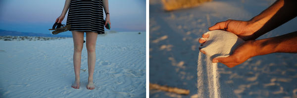 Left: Brittany Peterson goes barefoot. Right: Park Ranger Eugene Ibarra runs the soft gypsum sand through his hands.