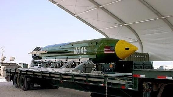 A photo provided by Eglin Air Force Base shows the GBU-43/B Massive Ordnance Air Blast bomb. The Pentagon says U.S. forces in Afghanistan dropped the military's most powerful non-nuclear bomb on an Islamic State target on Thursday, the first-ever combat use of the weapon.