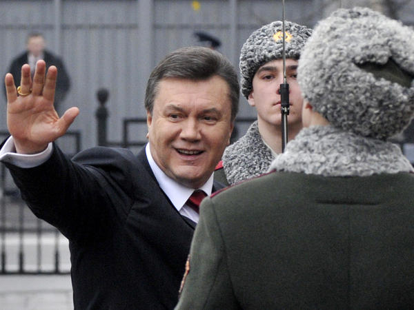 Viktor Yanukovych waves to his supporters before being sworn in as Ukraine's president in 2010.