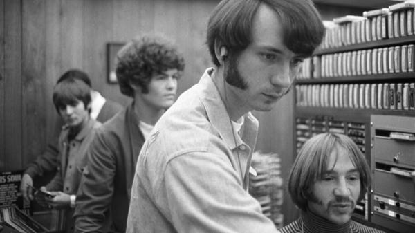 Michael Nesmith (center, foreground) with the other members of The Monkees — Davy Jones (left), Micky Dolenz and Peter Tork (right) — in the late 1960s.