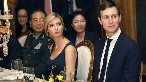 Ivanka Trump sits with her husband, Jared Kushner, at the April 6 dinner for Chinese President Xi Jinping at President Trump's estate in Florida. The same day, China granted the president's daughter potentially lucrative trademark rights.