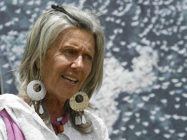 Conservationist Kuki Gallmann speaks at the launch of World Migratory Bird Day, in April 2006. Gallmann was shot in the stomach Sunday while surveying arson damage to her property.