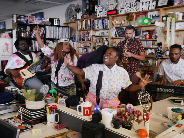 Tank And The Bangas perform perform a Tiny Desk Concert on Mar. 6, 2017. (NPR)