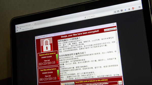 A screenshot of the warning screen ransomware attack, as captured by a computer user in Taiwan, seen Saturday.